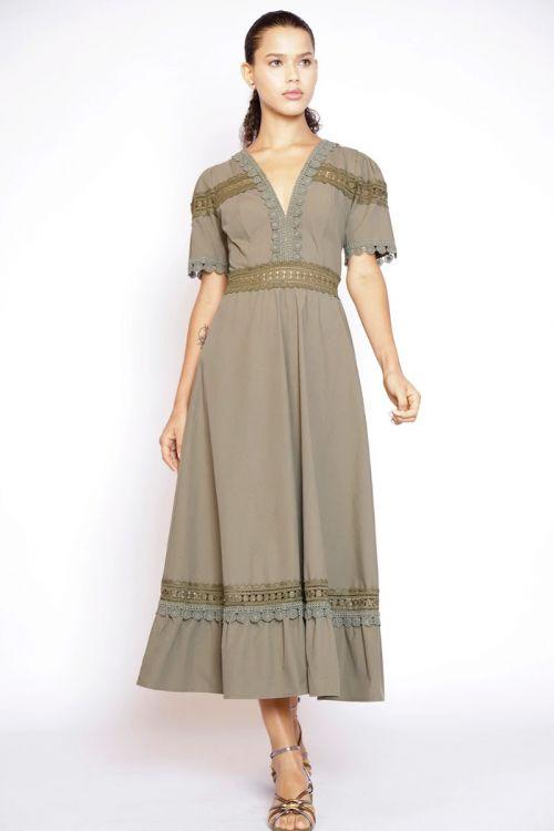 Vestido Midi com Patchwork de Rendas Verde Selva - Fabiana Milazzo