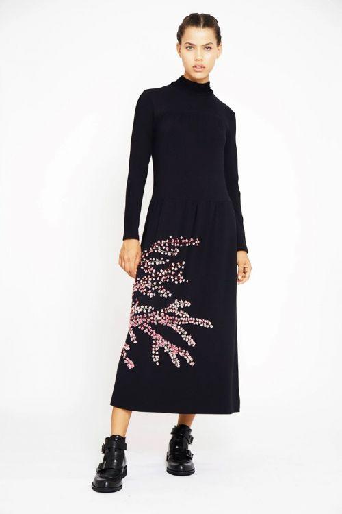Vestido Longo Gola Alta Bordado Flores de Cerejeira Preto - Fabiana Milazzo