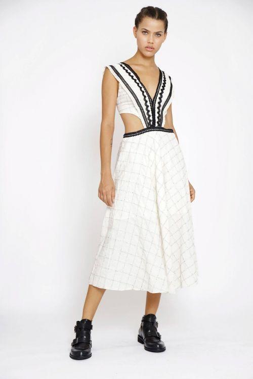 Vestido Midi em Algodão com Patchwork de Rendas Branco - Fabiana Milazzo