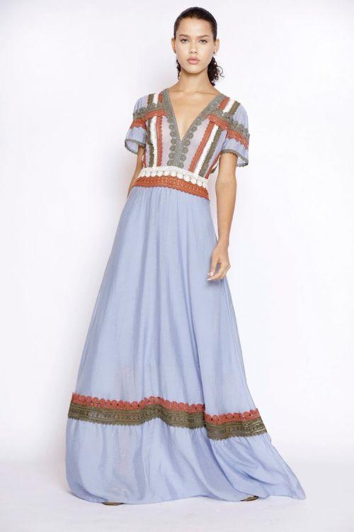 Vestido Longo de Mangas com Patchwork de Rendas Azul Moon - Fabiana Milazzo