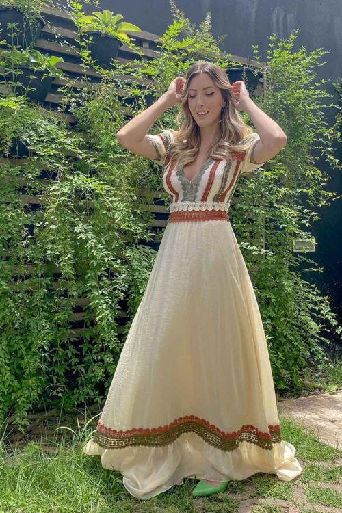 Vestido Longo de Mangas com Patchwork de Rendas Vanilla - Fabiana Milazzo