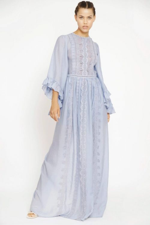 Vestido Longo Mangas Amplas e Patchwork de Rendas Azul Moon - Fabiana Milazzo