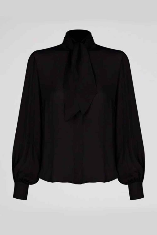 Camisa de Seda Romain Luana Preto - NK