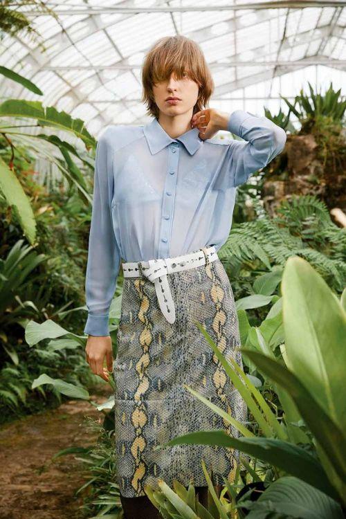 Camisa de Seda Georgette com Top Paetê Yan Azul e Prata - NK