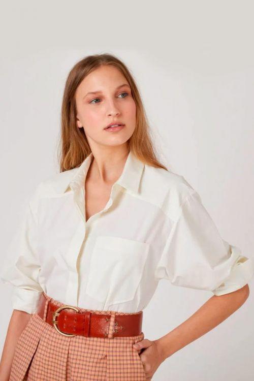 Camisa de Tricoline Sarita Off White - NK
