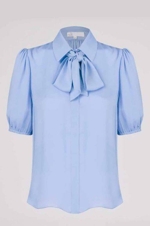 Camisa de Seda com Lenço Leticia Azul - NK