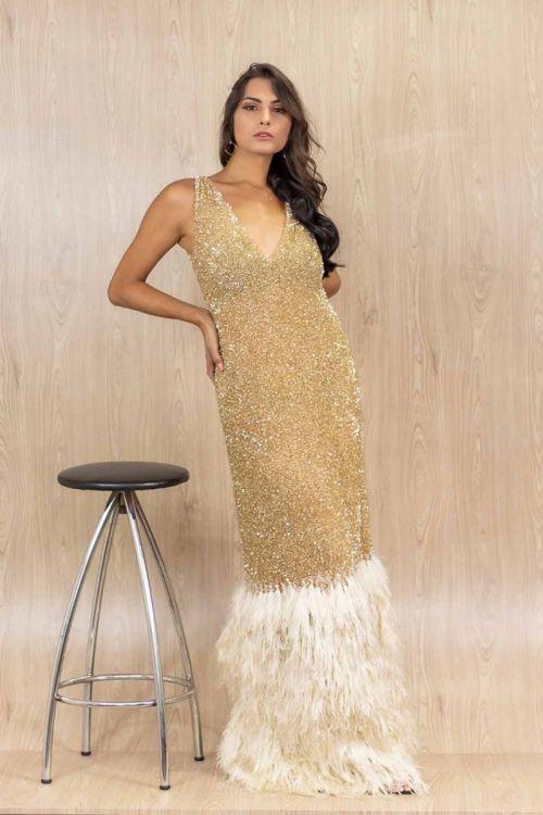 Vestido Longo Bordado com Barra em Plumas - Dourado - Fabiana Milazzo