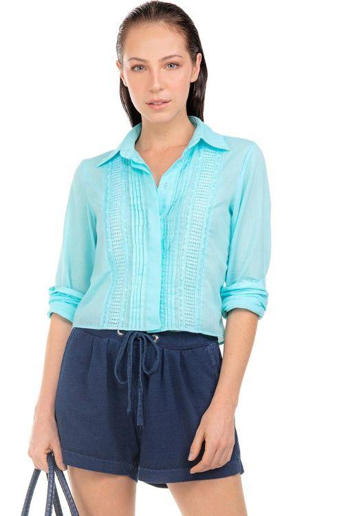 Camisa de Voil e Patchwork Azul Mar Mediterrâneo - Fabiana Milazzo