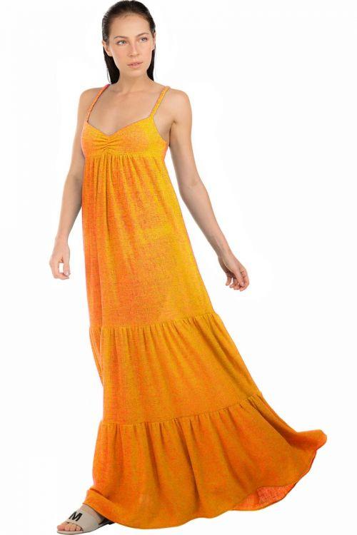 Vestido Longo Marias em Malha Sisal Amarelo - Fabiana Milazzo