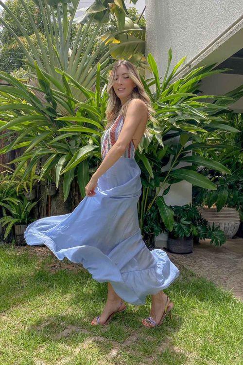 Vestido Longo Patchwork de Rendas Azul Moon - Fabiana Milazzo