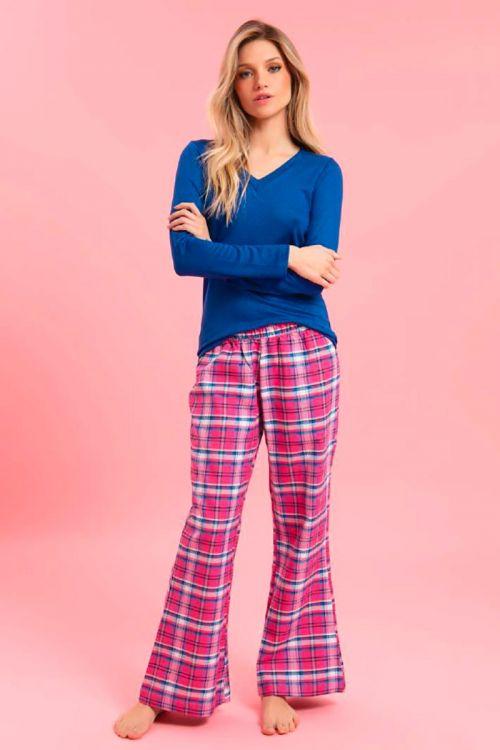 Pijama Manga Longa Flanela Xadrez - Pink
