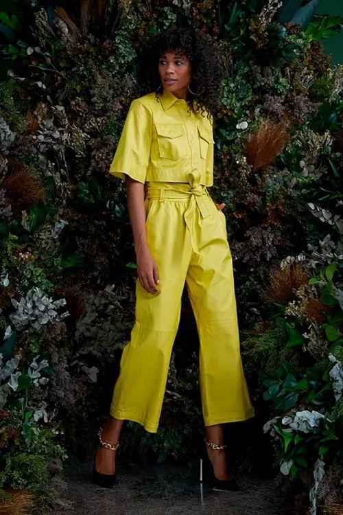 Camisa Cropped em Couro Ligia Verde Pistache - NV