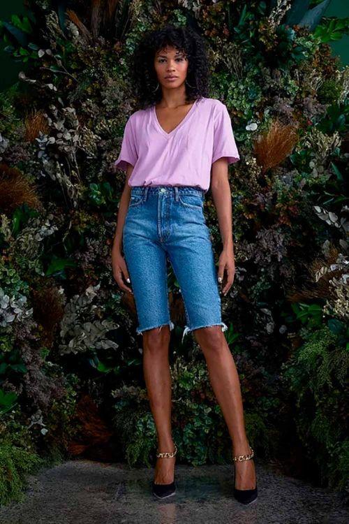 T-Shirt Decote V em Algodão Johanna Lilás Tulipa - NV