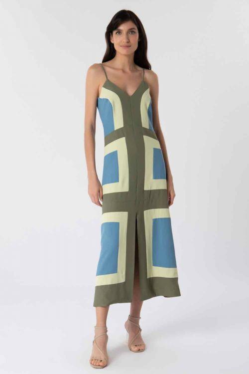 Vestido Midi Evasê Alcinha Tricolor Versailes - Lolitta