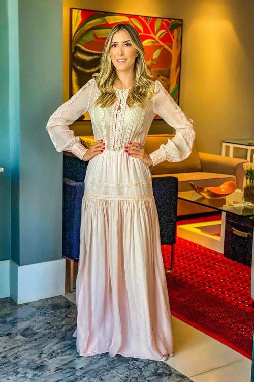 Vestido Longo com Passamanaria Jardim Rosa Claro - Lolitta