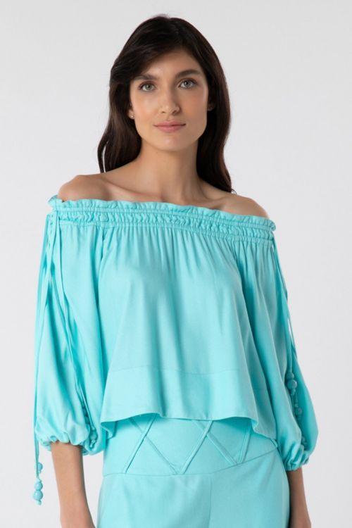 Blusa Ombro a Ombro Entree Azul - Lolitta