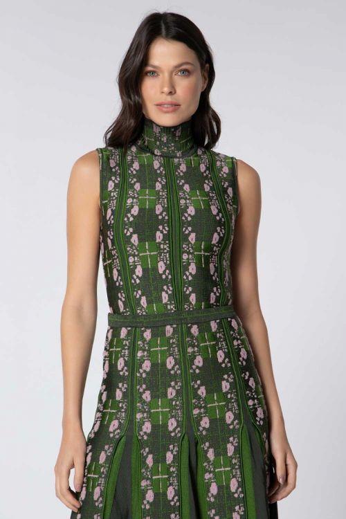 Blusa Gola Alta Jacquard Tweed Xadrez Pietra Verde  - Lolitta