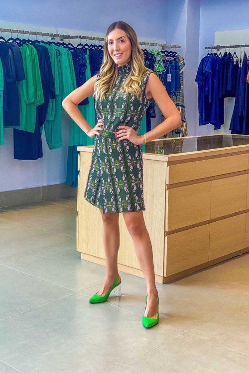 Short Saia Jacquard Tweed Xadrez Pietra Verde - Lolitta