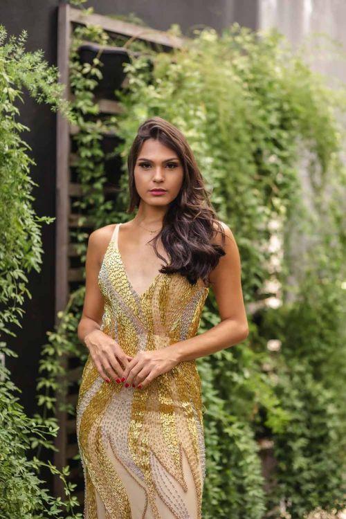 Vestido Longo Sereia Bordado - Dourado