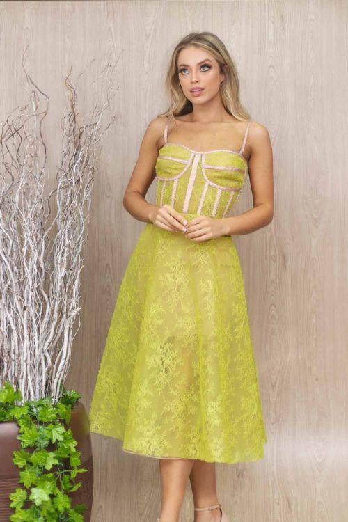 Vestido Midi Corselet - Rose Amarelo - Leticia Manzan
