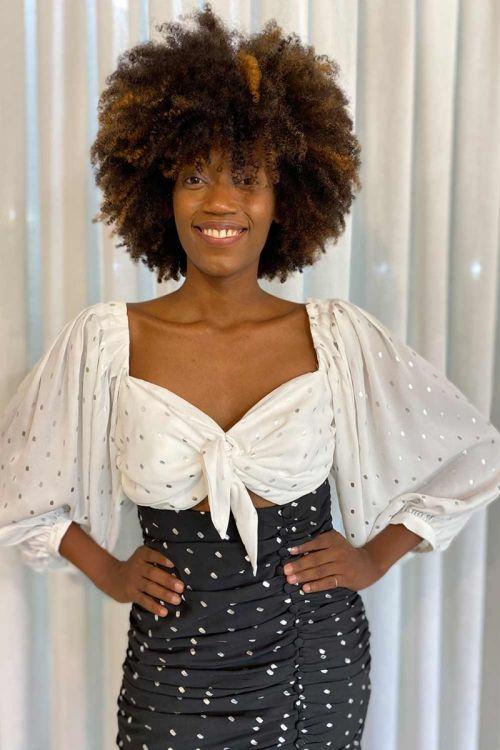 Vestido Mini Drapeado - Poá Preto e Branco