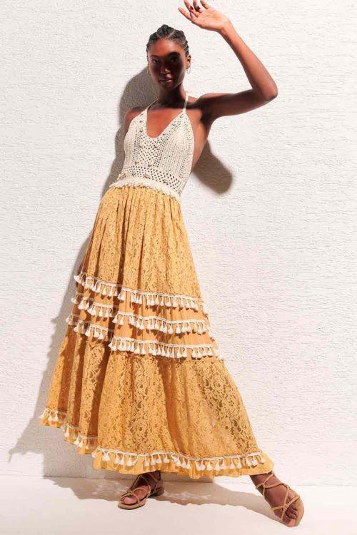 Vestido Longo Renda e Crochet Naomi Off White e Amarelo - Nammos