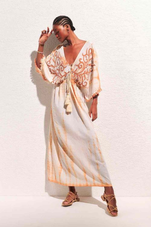 Vestido Longo Tie Dye Bordado Bege Nubia - Nammos