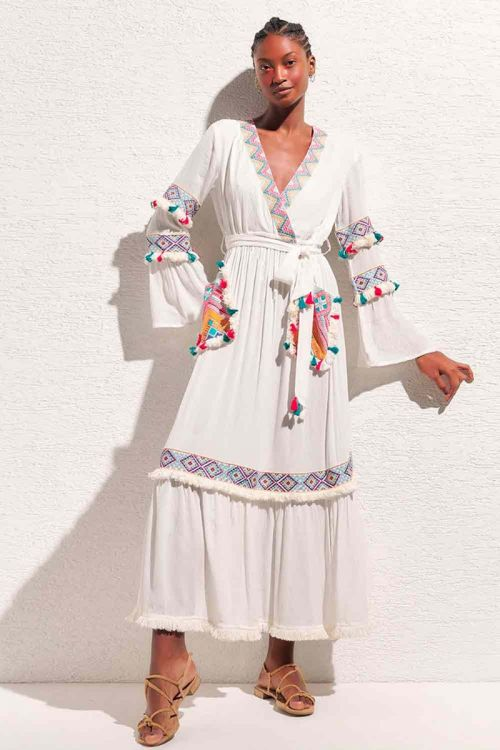 Vestido Longo Bordado e Aplicações Lorenza Branco - Nammos