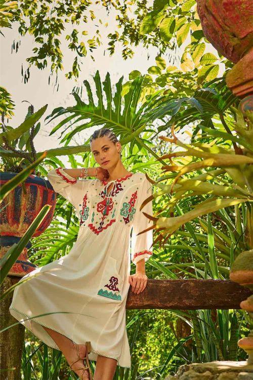 Vestido Midi Boho Folk Luana Off White - Nammos