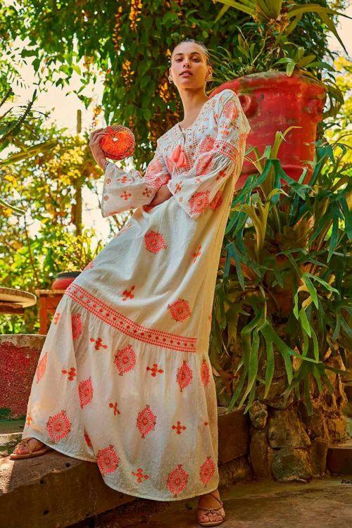 Vestido Longo Boho Bordado Emma Branco - Nammos