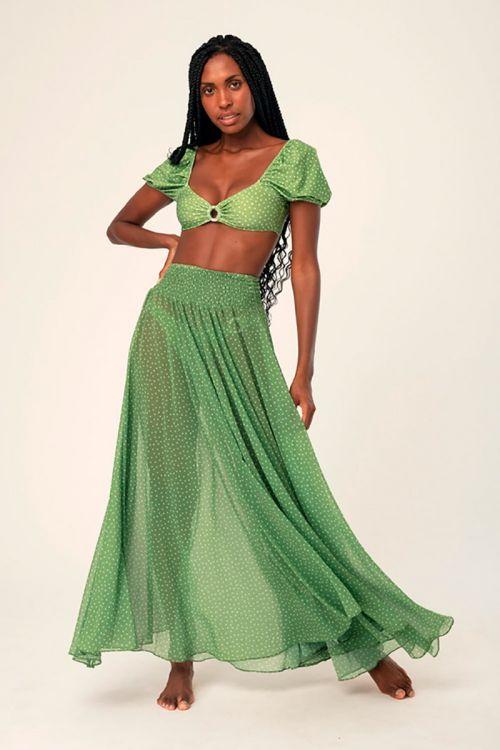 Saia Longa Celine Petit Stars Verde - Hype