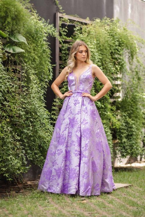 Vestido Longo Princesa em Organza - Lilas