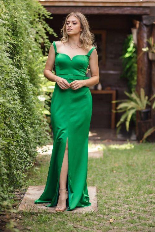 Vestido Longo Sereia Decote Coração - Verde