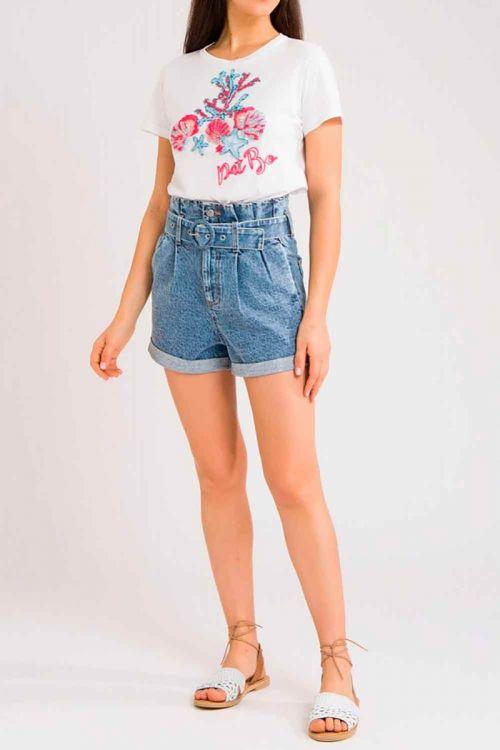 Shorts Cintura Alta Jeans Claro - PatBo
