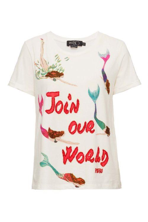 T-Shirt Join Our World Bordado Off White - PatBo
