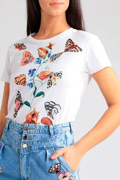 T-Shirt Borboletas Off White - PatBo