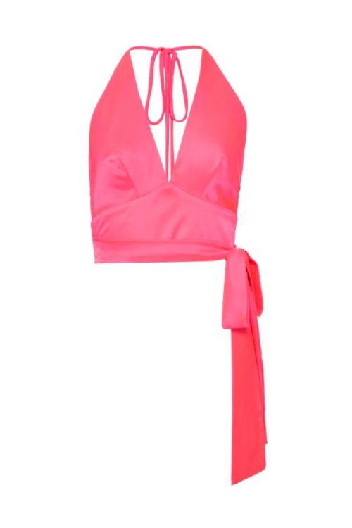 Top Frente Unica Cetim Slip Pink - PatBo