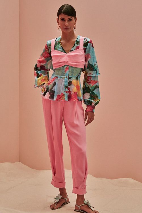 Top Cropped Crepe 80`S Rosa - PatBo