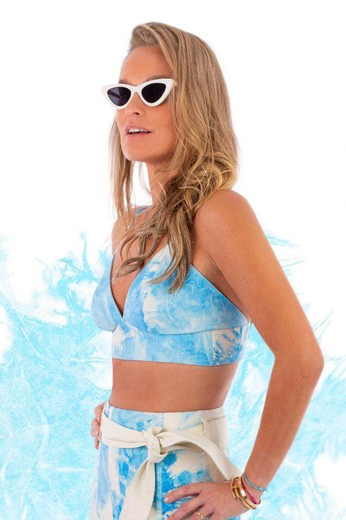 Top Cropped em Couro Tie Dye Azul - Juliana SanMartin