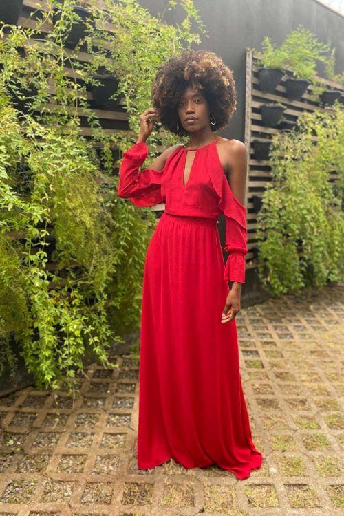 Vestido Longo Decote Ombros  - Vermelho