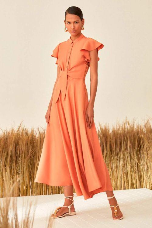 Vestido Midi Gloss com babados e amarração - Laranja