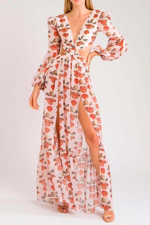 Vestido Longo Fendas Coquiles Vintage - PatBo
