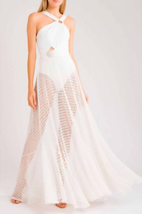 Vestido Longo Fivela e Concha Off White - Patbo