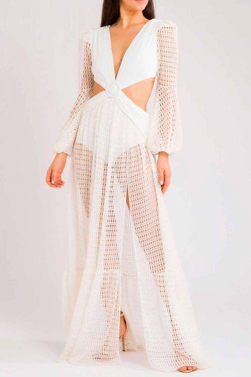 Vestido Longo Reveillon Recortes Off White - PatBo