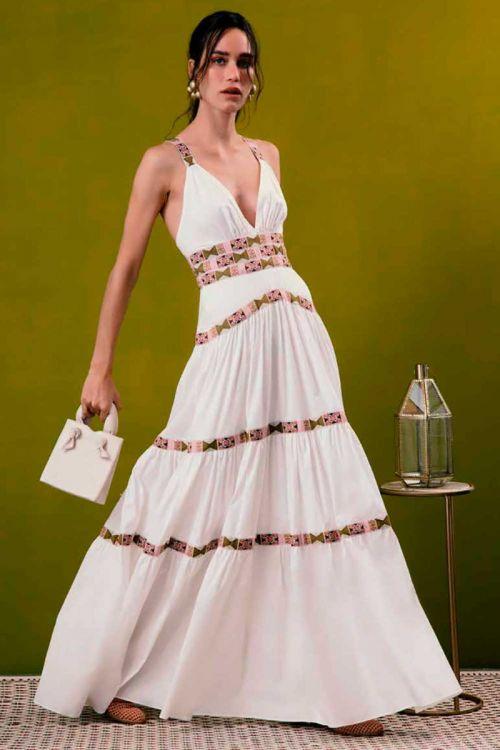 Vestido Longo com Alças em Tricoline Span Off White - PatBo