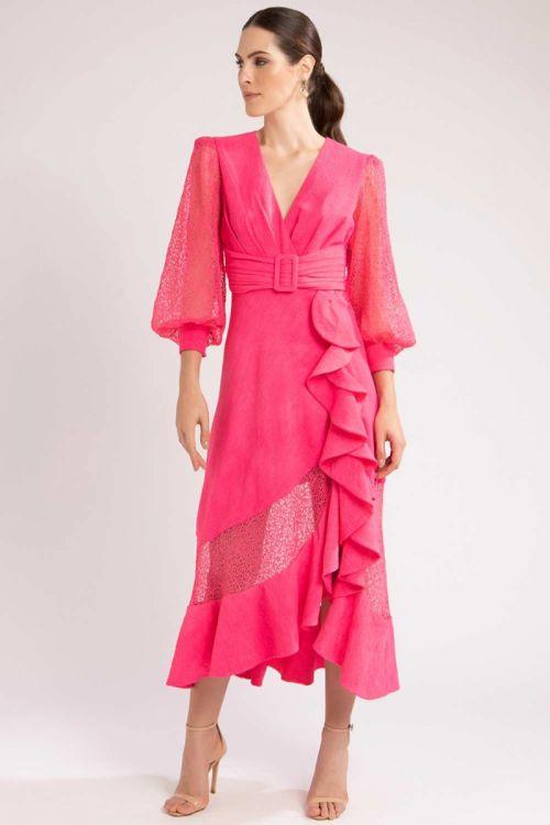 Vestido Midi Babados e Renda Pink - PatBo