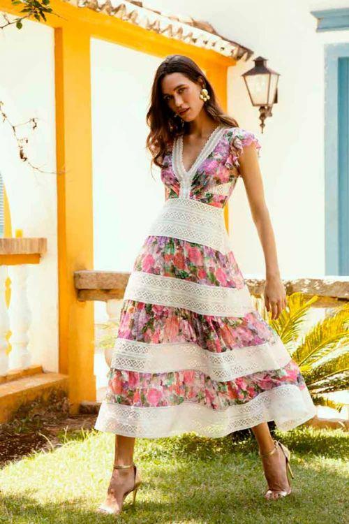 Vestido Midi em Devorê Cottom Flowers Rosa - PatBo