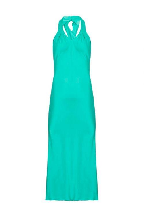 Vestido Midi Decote Cruzado Cetim Slip Dress Azul - PatBo