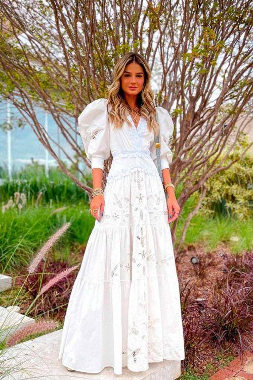 Vestido Longo Mangas Bufantes Tricoline Span Off White - PatBo