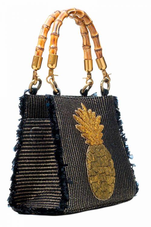 Bolsa Tote Metalizada em Palha preta bordada